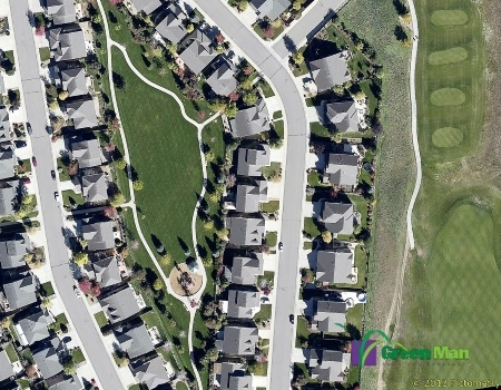 Commercial mowing aerial view of an HOA